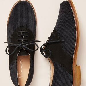 NEW A Anthropologie Corduroy Oxford Brouge Lace up
